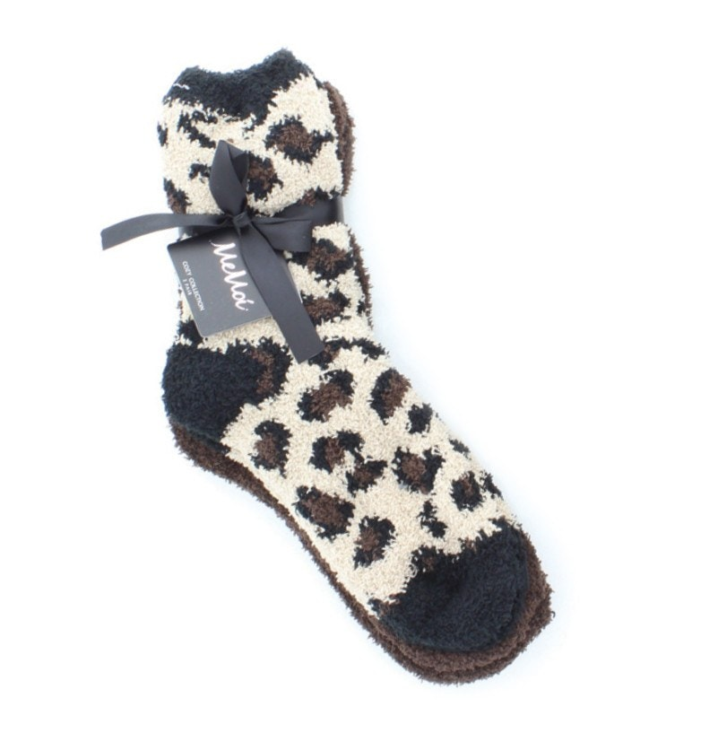 Leopard/Solid Cozy Crew Two Pair Pack - MeMoi - 1
