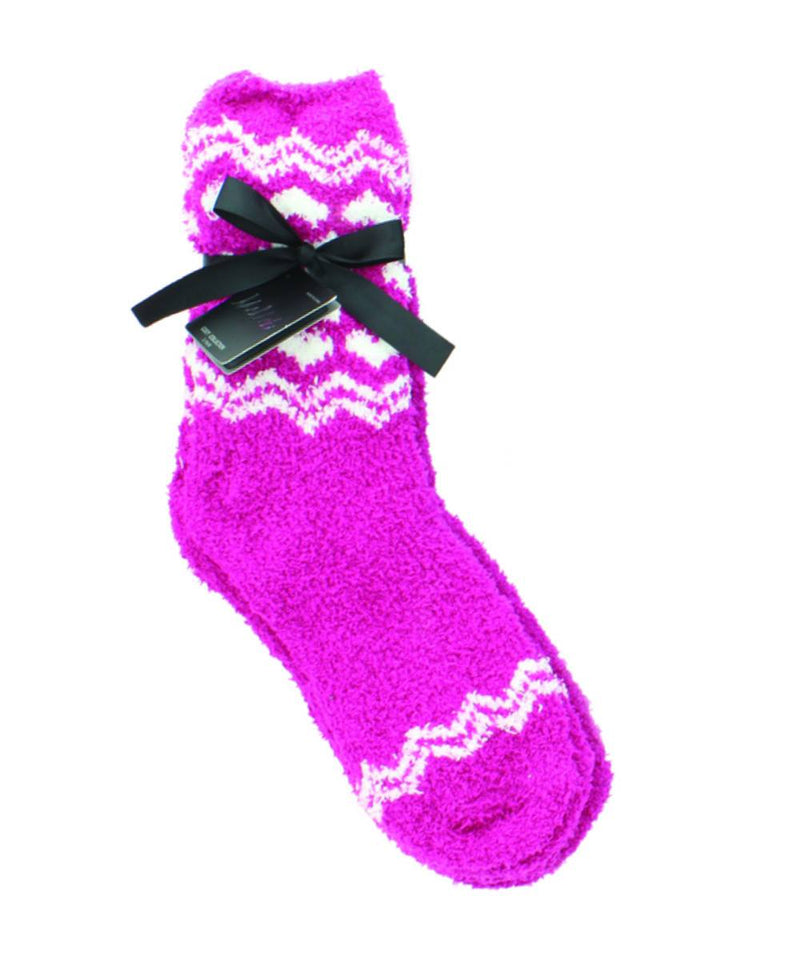 MeMoi Traditional Snowflakes Fuzzy Crew Socks 2-Pack
