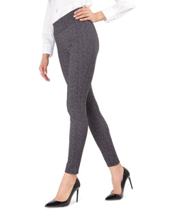 MeMoi Black Heathered Tweed Shaping Leggings | Women's Premium High-Waisted Shaping Leggings | Women's Pants - MJF02574