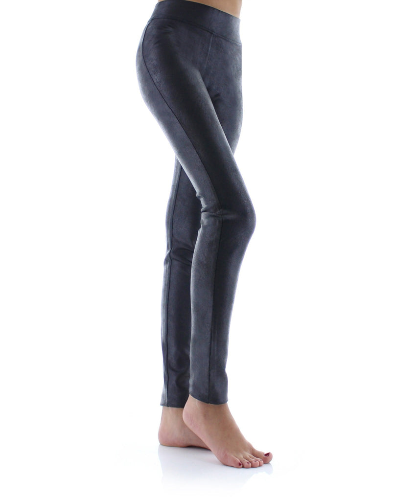 Rugged Pleather High-Waisted Wide Waistband Slimming Leggings - MeMoi - 1