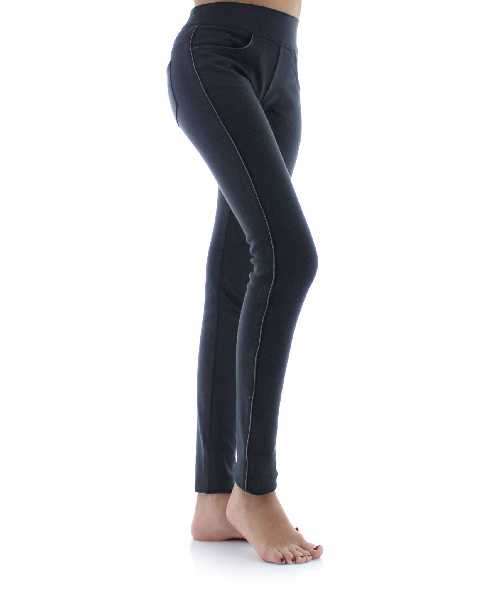 Pocket Scrunch High-Waisted Wide Waistband Slimming Leggings - MeMoi - 1