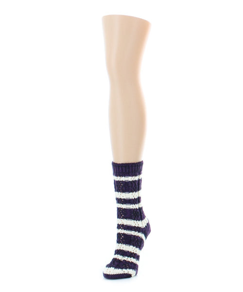 Stripe Shade Chunky Knit Boot Sock Legion - MeMoi - 2