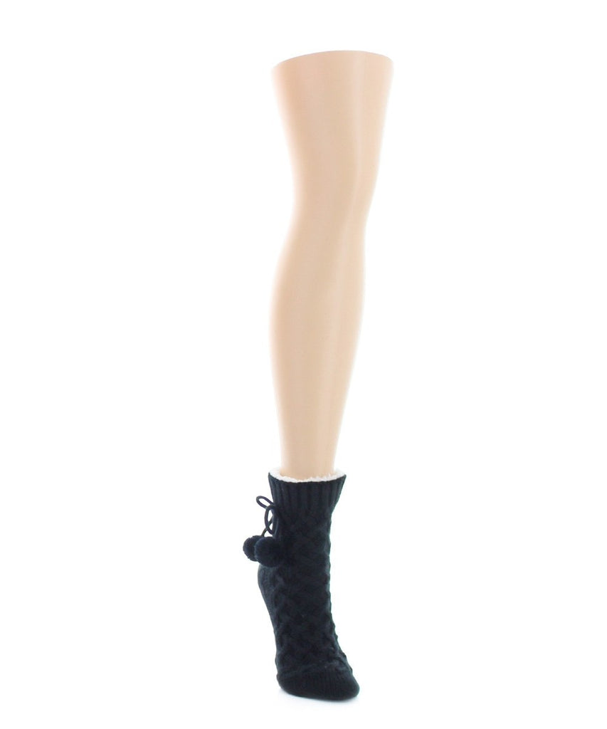 Pom Cross Sherpa Top Lined Lounge Sock - MeMoi - 2