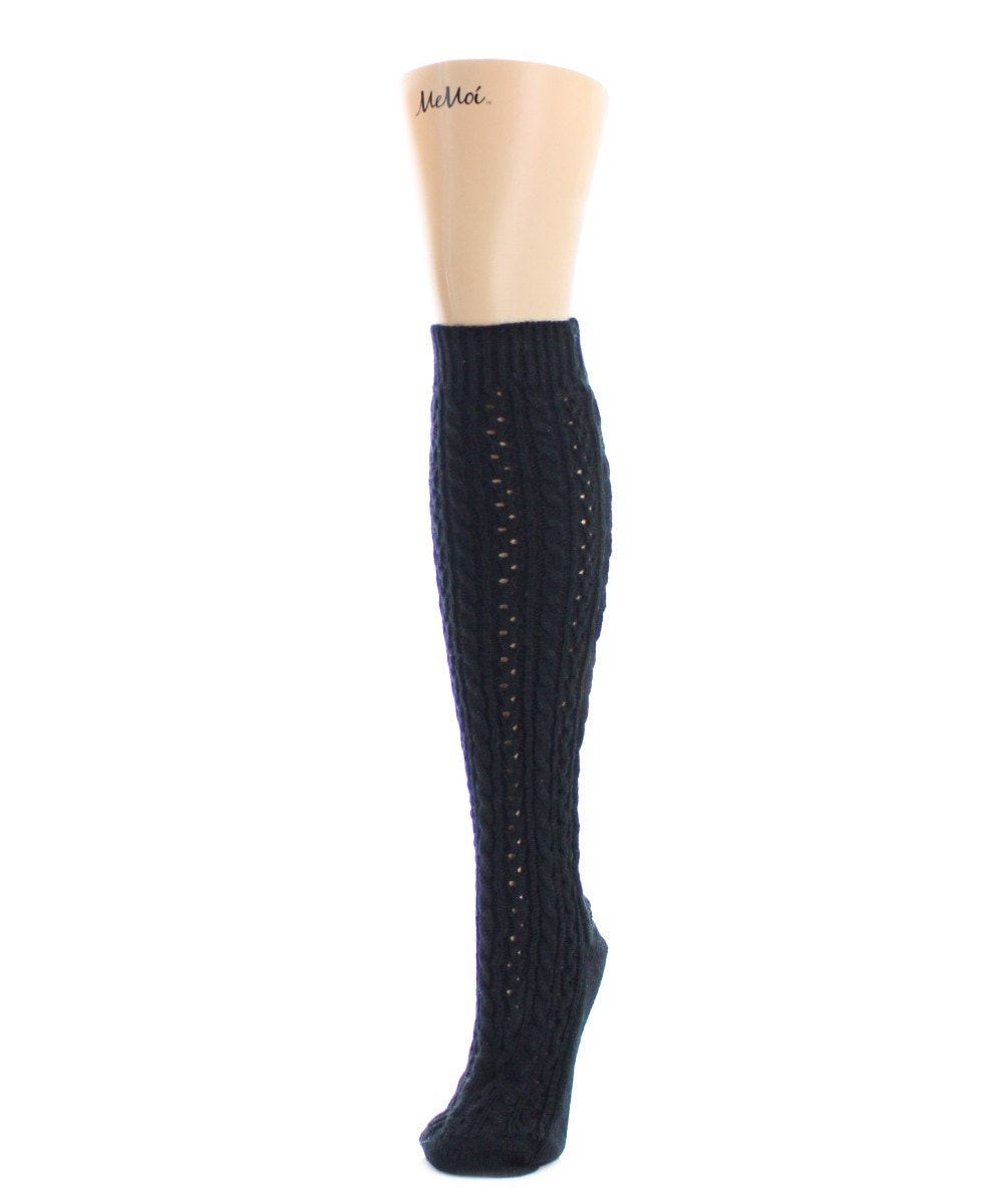 Duo Cable Chunky Knit Knee High - MeMoi - 2