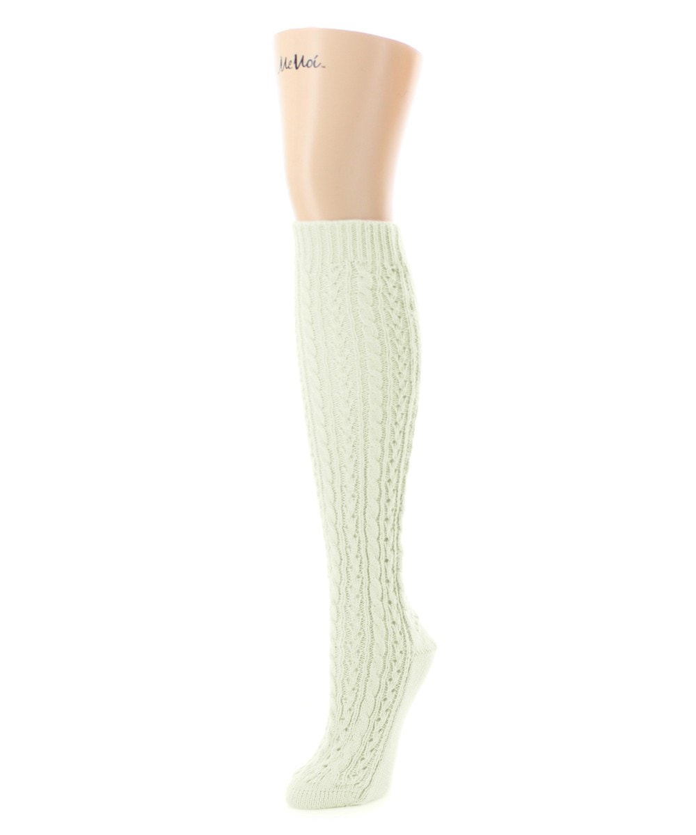 Duo Cable Chunky Knit Knee High - MeMoi - 3