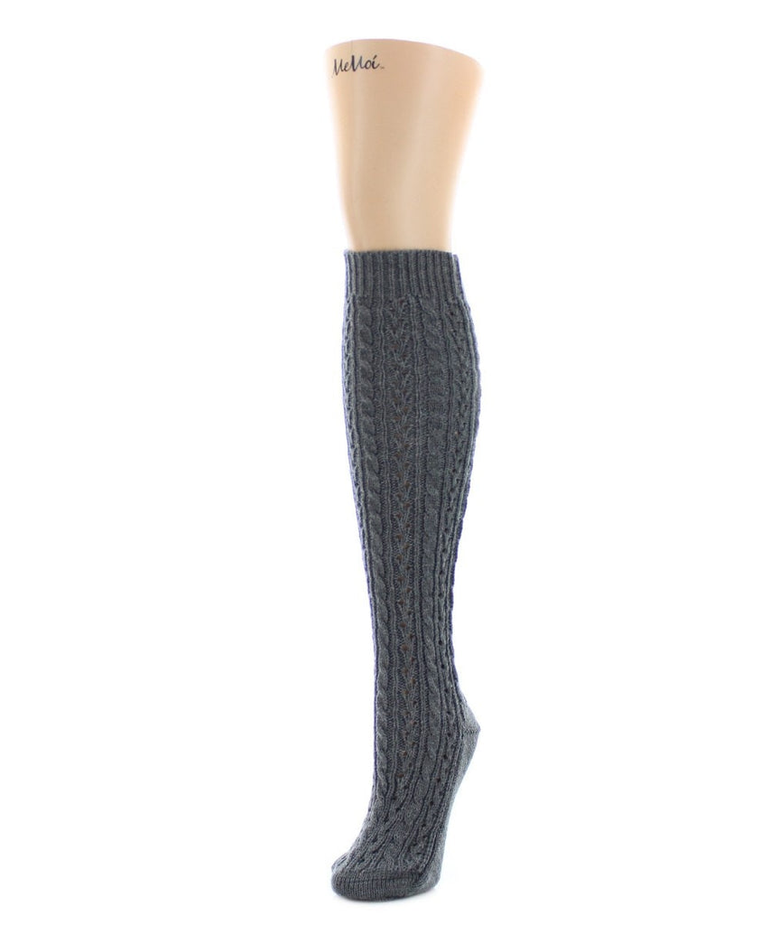 Duo Cable Chunky Knit Knee High - MeMoi - 4