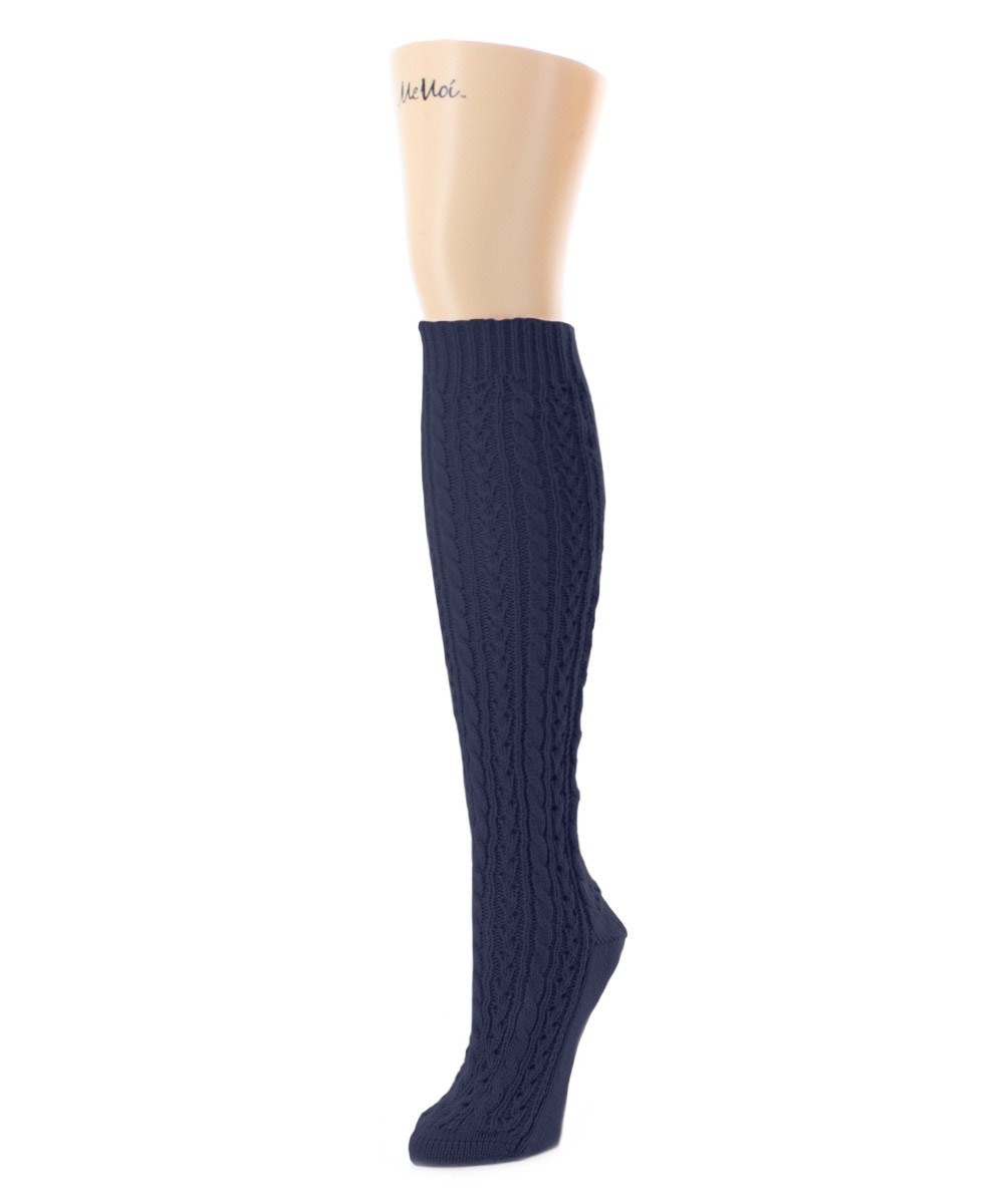 Duo Cable Chunky Knit Knee High - MeMoi - 5