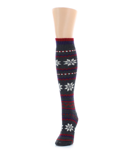 Flaketion Knit Knee-High Flower Socks - MeMoi - 1