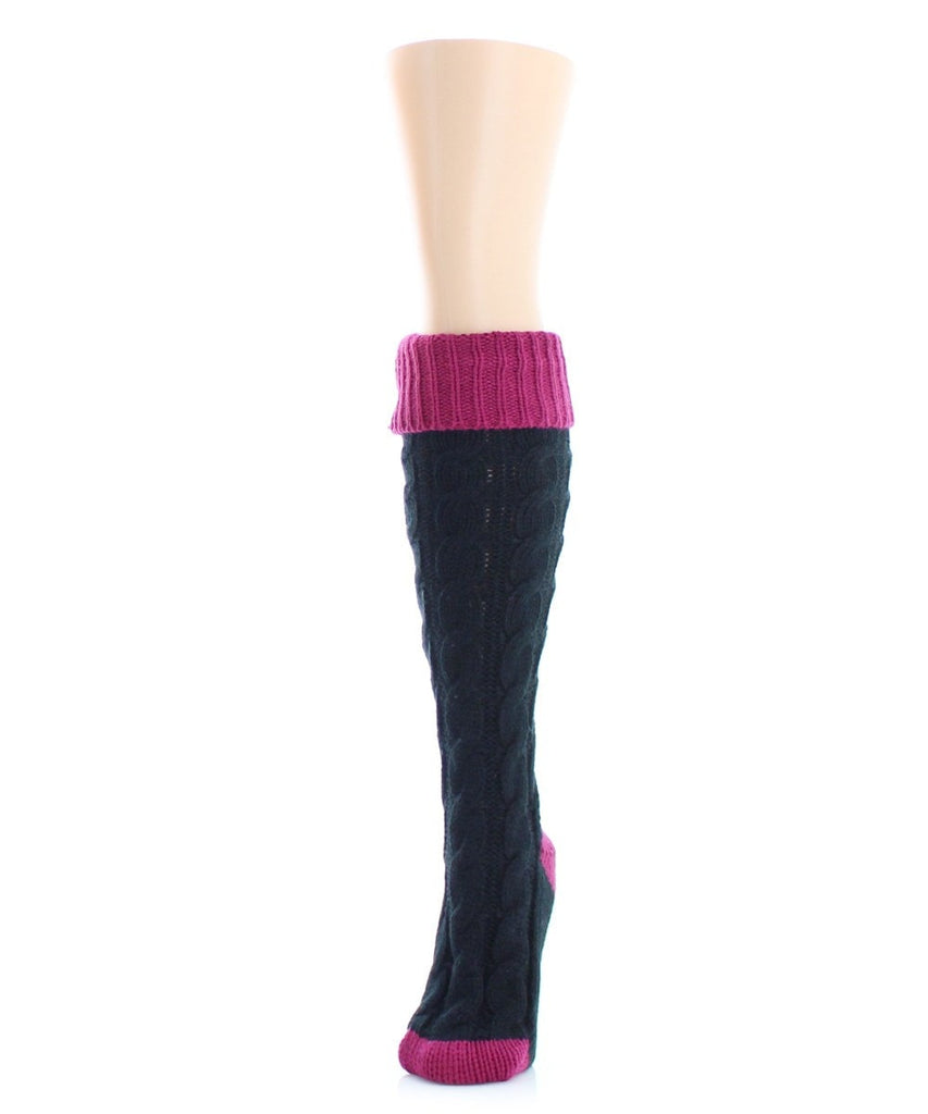 Braid Tip Chunky Knit Knee High - MeMoi - 1