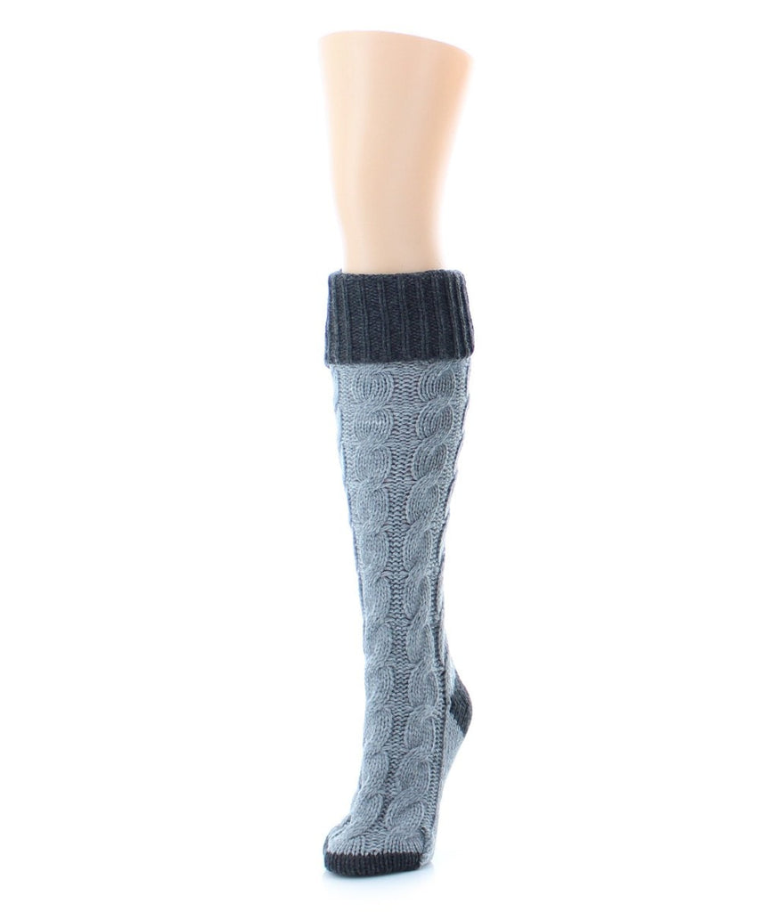 Braid Tip Chunky Knit Knee High - MeMoi - 2