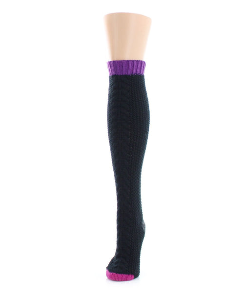 Toe Tone Chunky Knit Knee High - MeMoi - 1