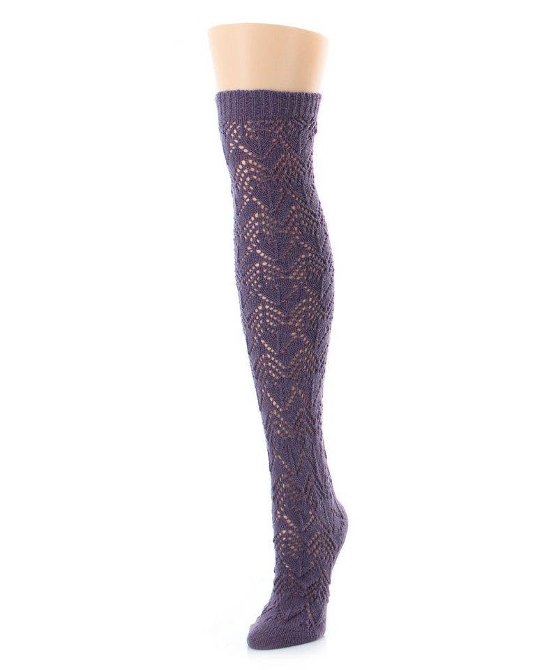 MeMoi Zig Asymmetry Chunky Knit Over The Knee Sock
