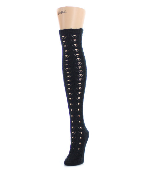 Linear Loop Chunky Knit Over The Knee - MeMoi - 2