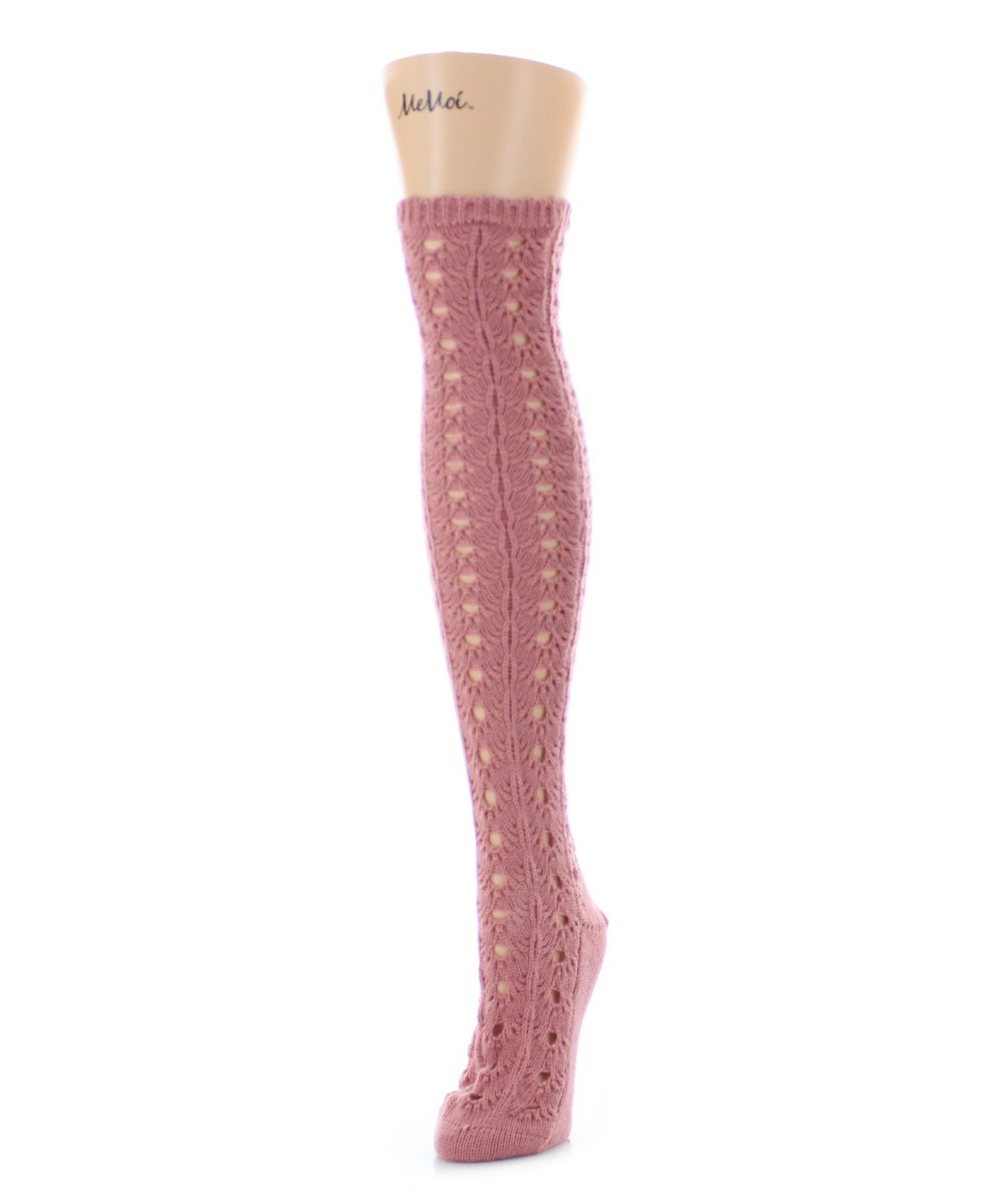 Linear Loop Chunky Knit Over The Knee - MeMoi - 3