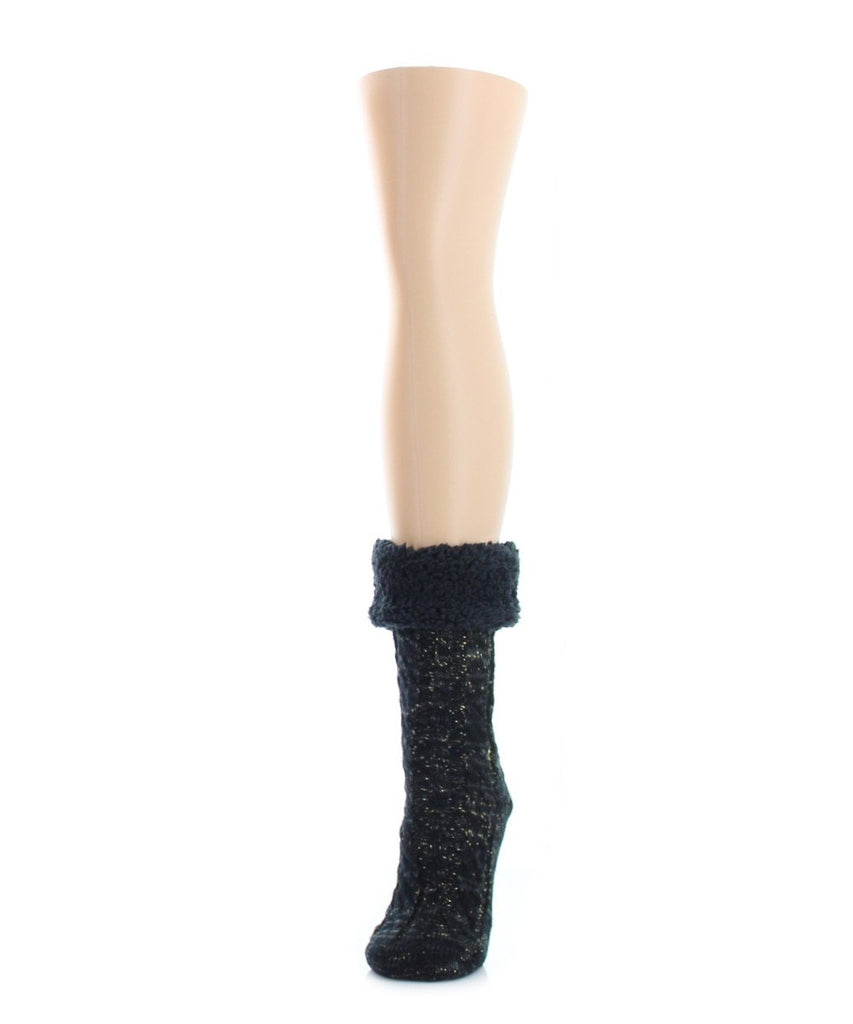 Twist Fuzz Sherpa Lined Ankle Length Lounge Sock - MeMoi - 1
