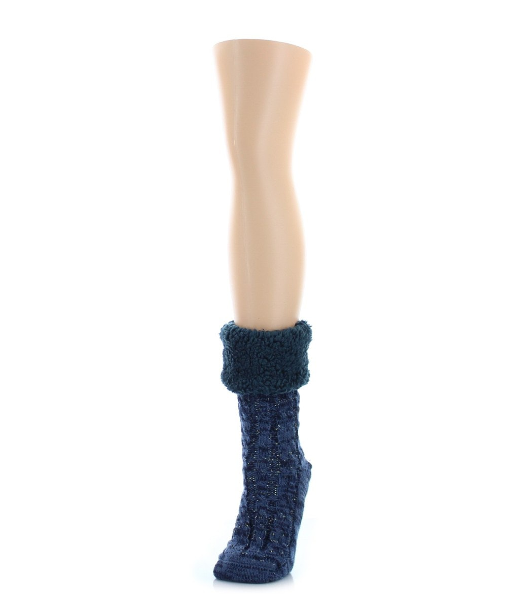 Twist Fuzz Sherpa Lined Ankle Length Lounge Sock - MeMoi - 4