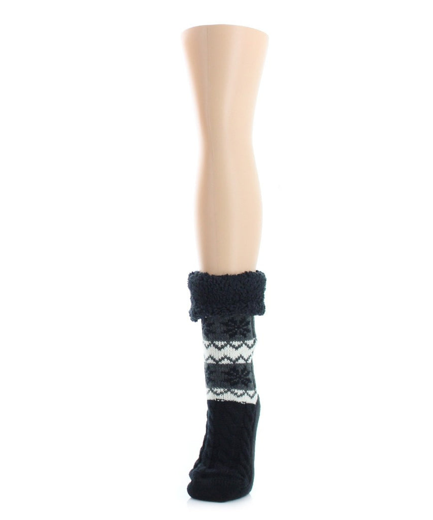 Flake Zag Sherpa Lined Lounge Sock - MeMoi - 1