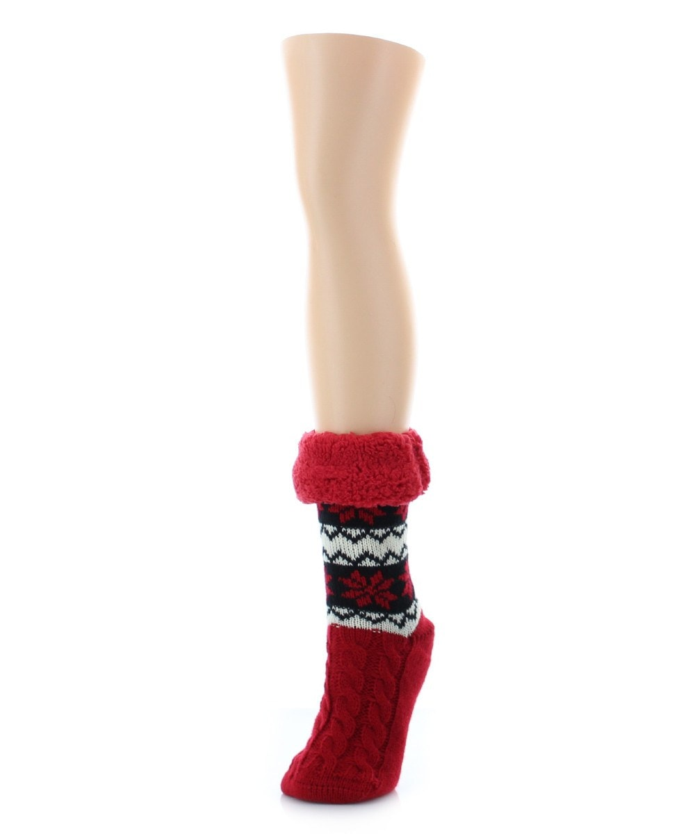 Flake Zag Sherpa Lined Lounge Sock - MeMoi - 4