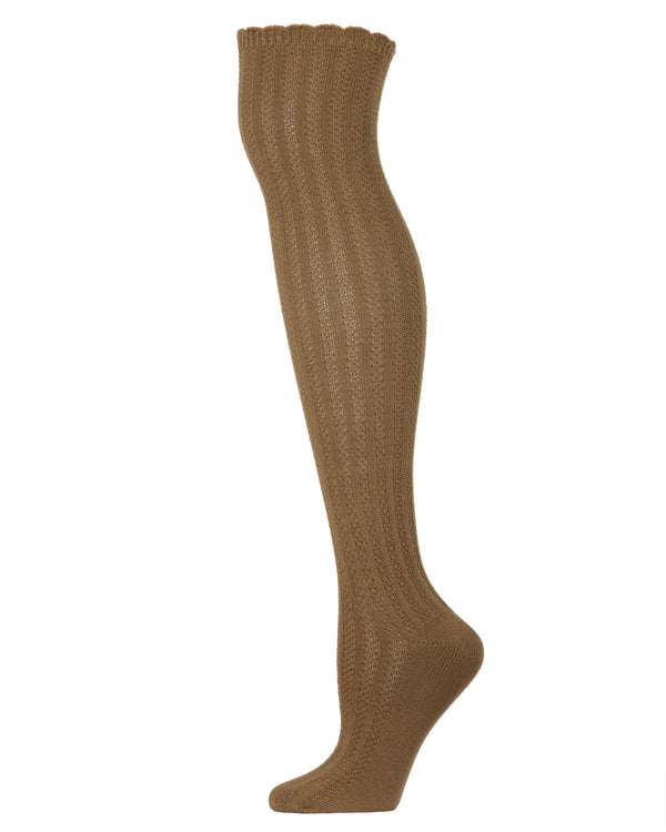 Linear Twist Over The Knee Warm Socks | Knee Highs By MeMoi®  | MF5-829 | Capers