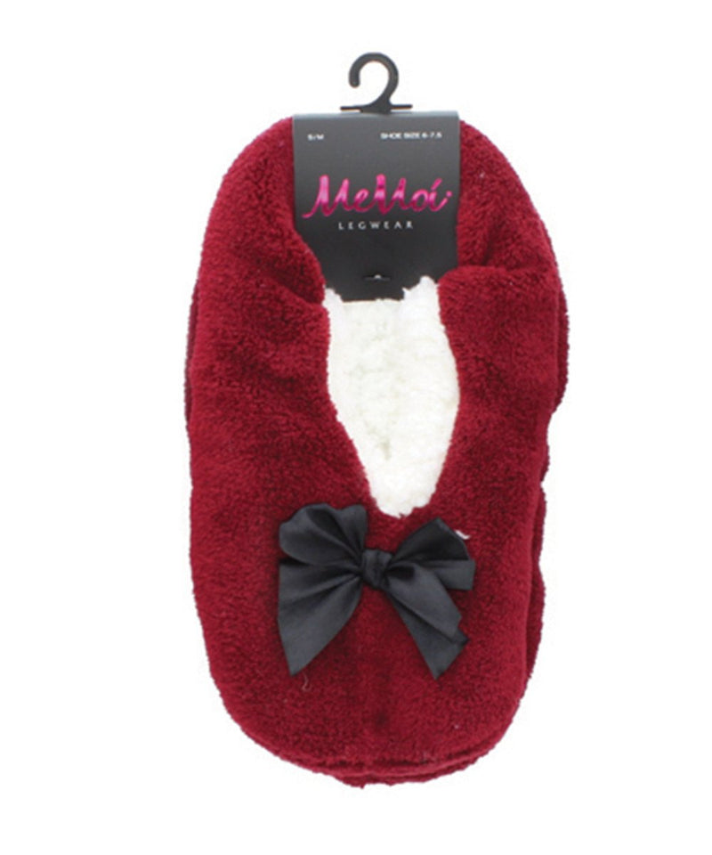 MeMoi Pretty Bow Soft & Fuzzy Women's Slippers | Slippers for Women/girls | Burgundy MF5-9300