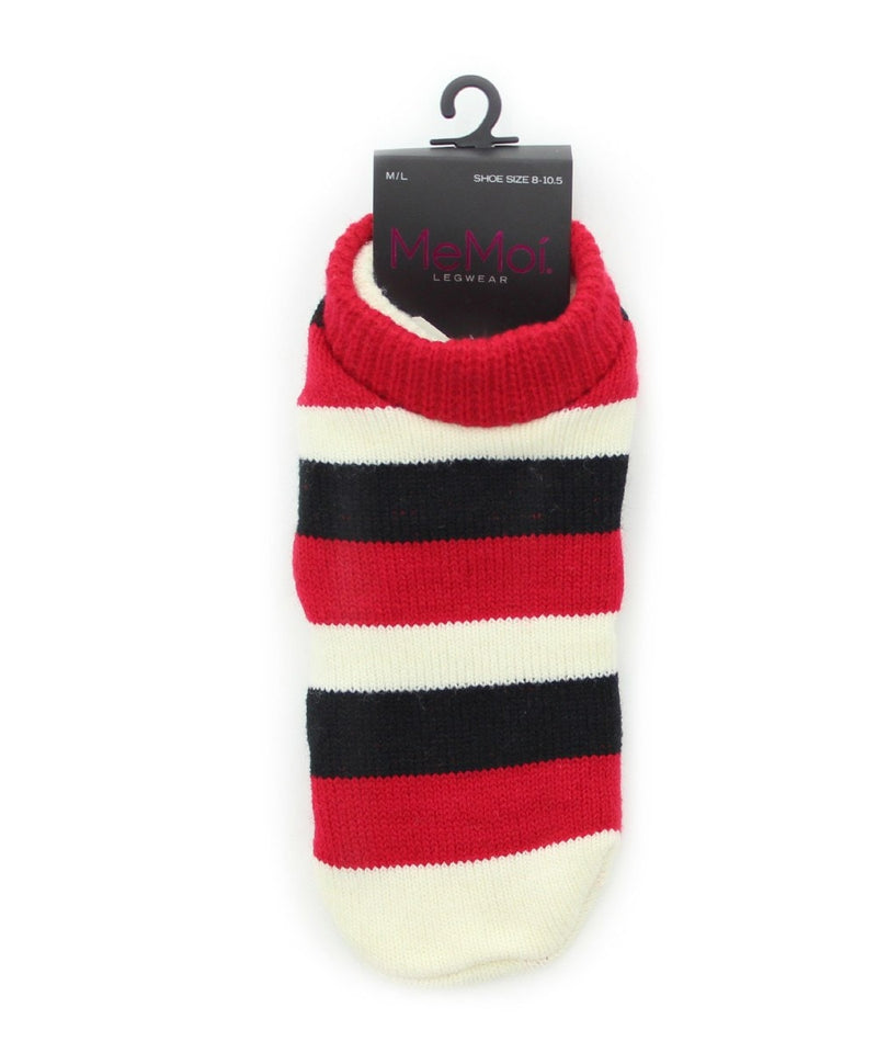MeMoi StripeTone Fuzzy Lined Bootie Slipper Socks