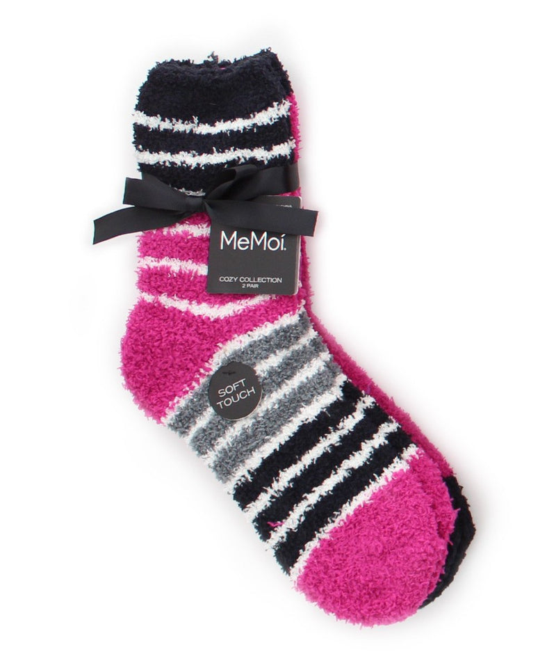 MeMoi StripeSet Fuzzy Socks 2 Pack