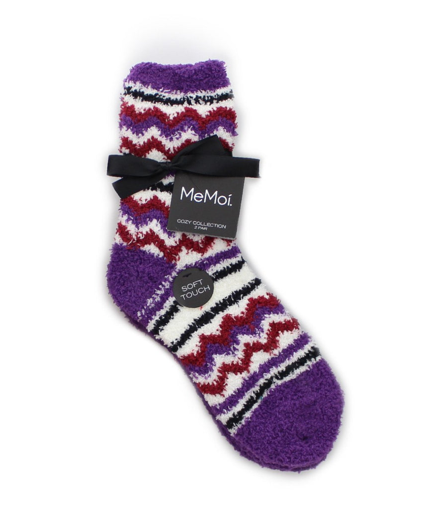 Chevron/Solid Cozy Collection 2 Pair Pack - MeMoi - 4