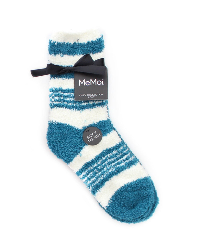MeMoi RibbonStripe Fuzzy Socks 2 Pack