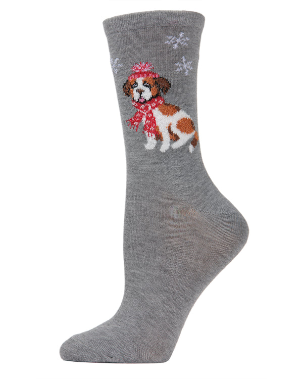 MeMoi Snowflake Dog Crew Socks | Women's Fun Novelty Socks | Merry Christmas Footwear | Medium Gray Heather MF6-1001