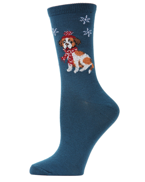MeMoi Snowflake Dog Crew Socks | Women's Fun Novelty Socks | Merry Christmas Footwear | Majolic Blue  MF6-1001