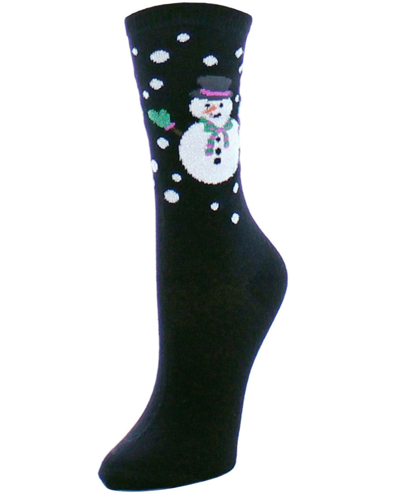Memoi Merry and Bright Snowman Holiday Crew Sock