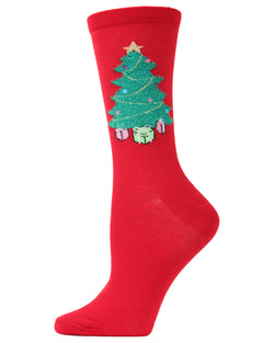 MeMoi Christmas Tree Crew Socks | Women's Fun Novelty Socks | Merry Christmas Footwear | Tango Red  MF6-1003