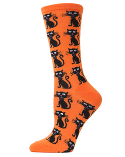 MeMoi Scary Cat Crew Socks | Halloween Novelty Socks | Fun & Spooky Halloween Socks for Women | Celosia Orange MF6-1101