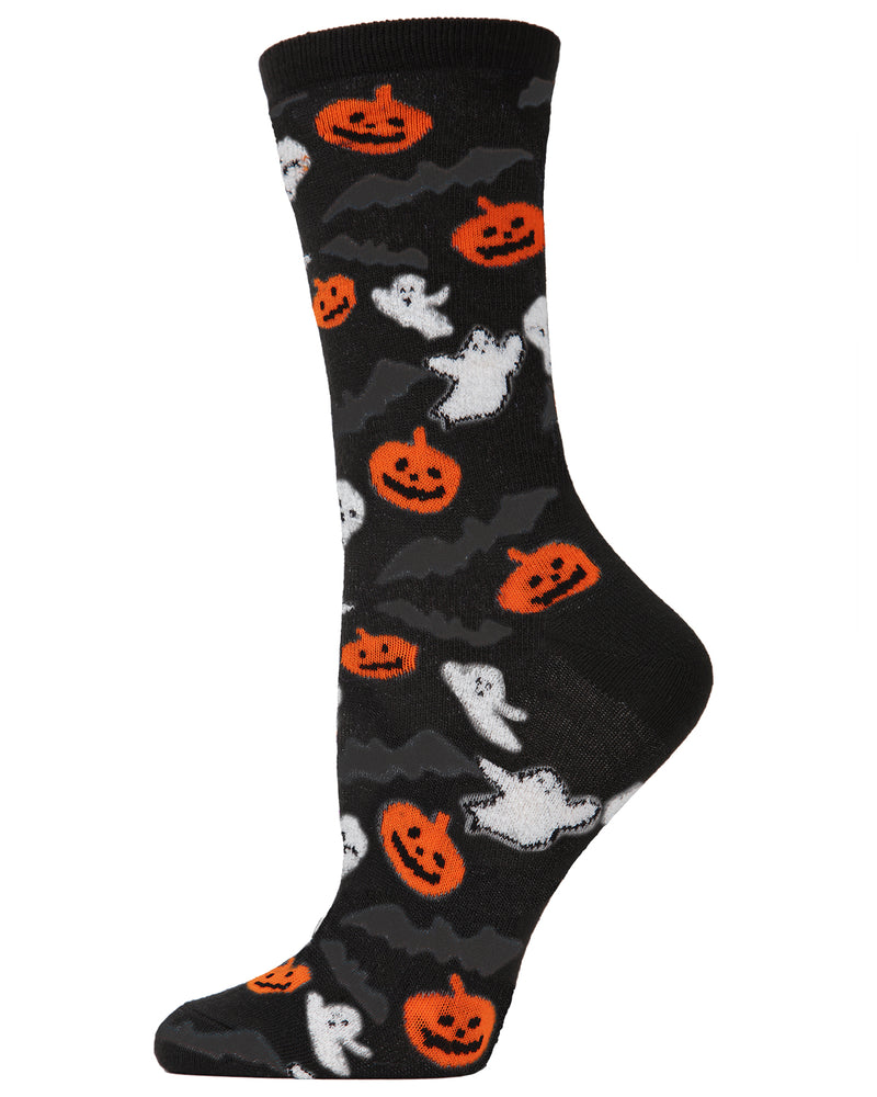 MeMoi Ghoul Crew Socks | Fun & Spooky Halloween Novelty Socks for Women | Black MF6-1103