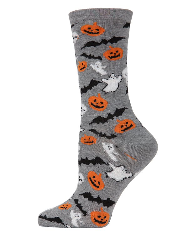 MeMoi Ghoul Crew Socks | Fun & Spooky Halloween Novelty Socks for Women | Medium Gray Heather MF6-1103