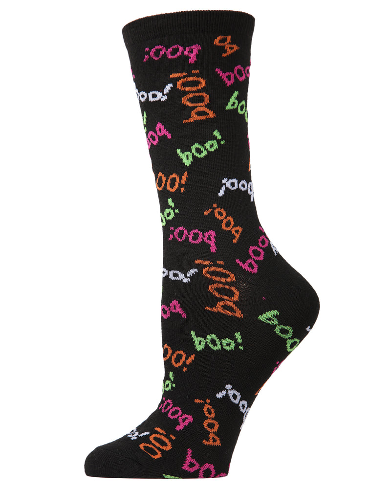 MeMoi Boo Crew Socks | Fun Crazy Halloween Novelty Socks | Women's Black MF6-1109