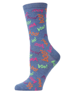 MeMoi Boo Crew Socks | Fun Crazy Halloween Novelty Socks | Women's Denim Heather MF6-1109
