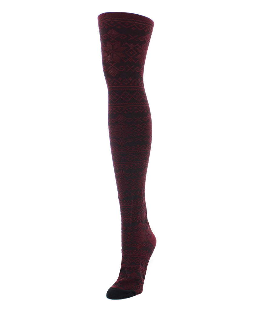 Sweater Tights | Patterned Tights | Holiday Snowflake - MeMoi - 3