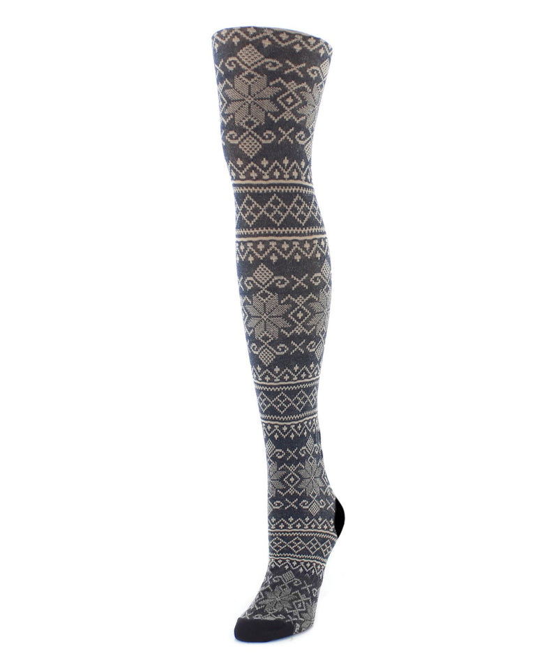MeMoi Holiday Snowflake Patterned Sweater Tights