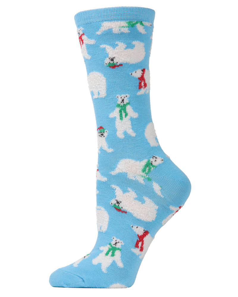 MeMoi Polar Bear Holiday Crew Socks | Women's Fun Novelty Socks | Merry Christmas Footwear | Gulf Stream  MF6-1202
