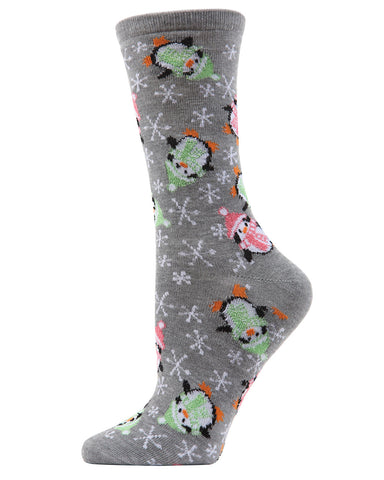MeMoi Snowflake Penguins Crew Socks | Women's Fun Novelty Socks | Merry Christmas Footwear | Black MF6-1204