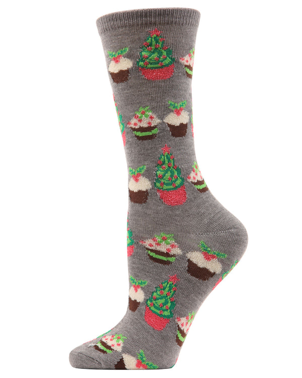 MeMoi Holiday Cupcake Crew Socks | Women's Fun Novelty Socks | Merry Christmas Footwear | Medium Gray Heather  MF6-1207