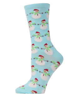 MeMoi Snowman Crew Socks | Women's Fun Novelty Socks | Merry Christmas Footwear | Gulf Stream MF6-1210