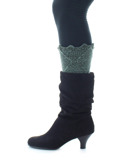 Boot Toppers | Knit Socks | Giant Diamond Pattern - MeMoi - 2