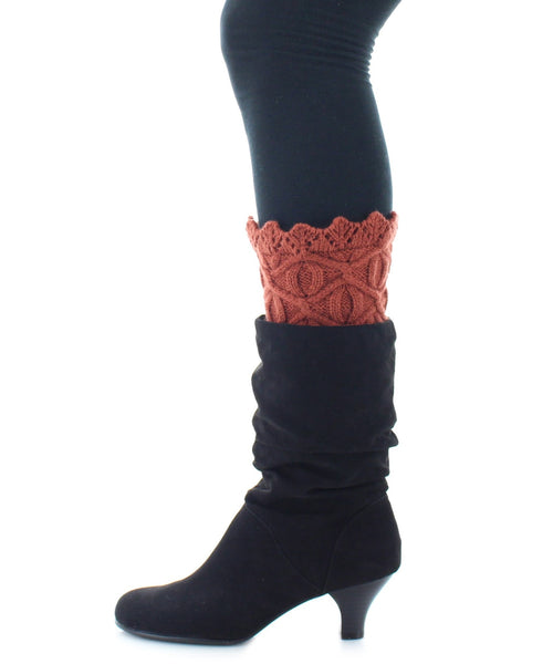 Boot Toppers | Knit Socks | Diamond & Circular Pattern - MeMoi - 1