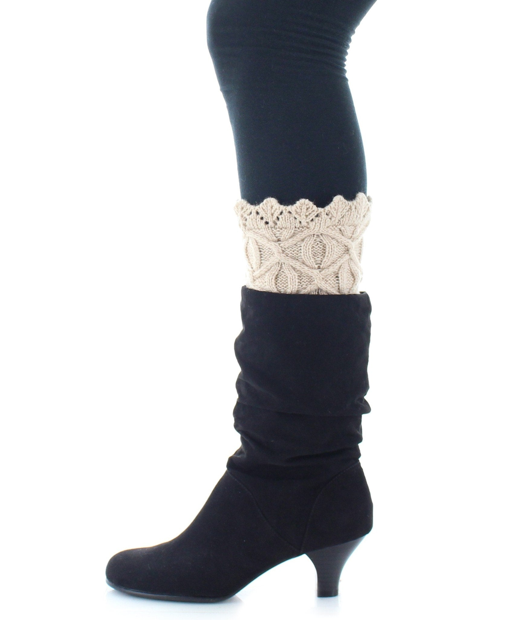 Boot Toppers | Knit Socks | Diamond & Circular Pattern - MeMoi - 4
