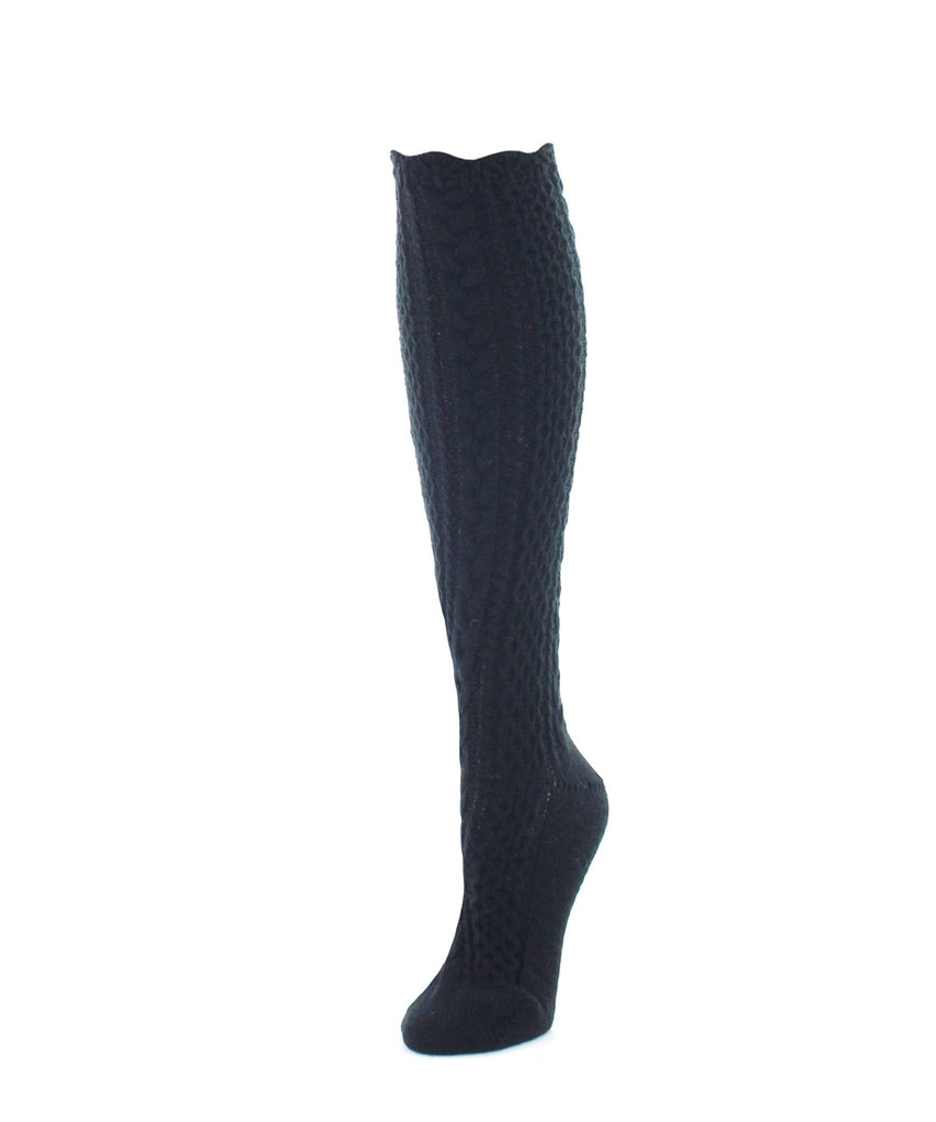 Pointelle Braid Chunky Knit Knee-High Socks - MeMoi - 2