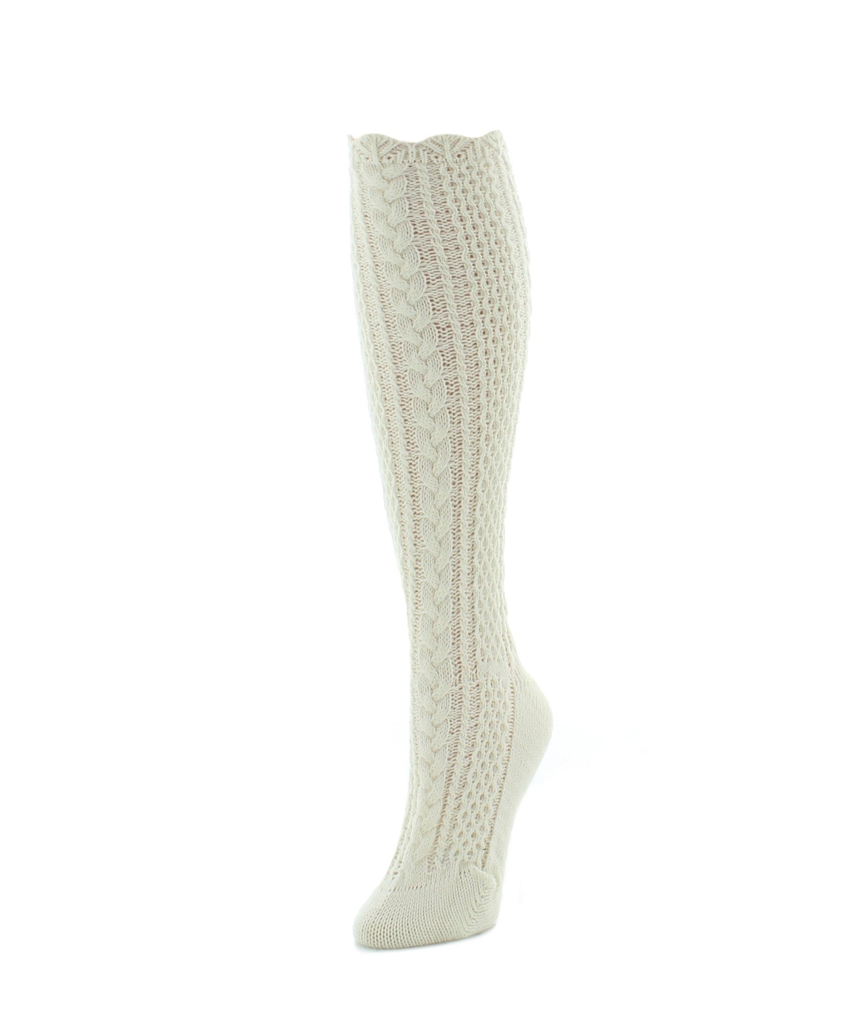 Pointelle Braid Chunky Knit Knee-High Socks - MeMoi - 3