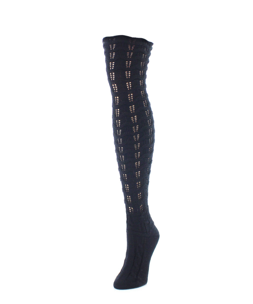 Chevron Stripe Chunky Knit Over-The-Knee Socks - MeMoi - 4