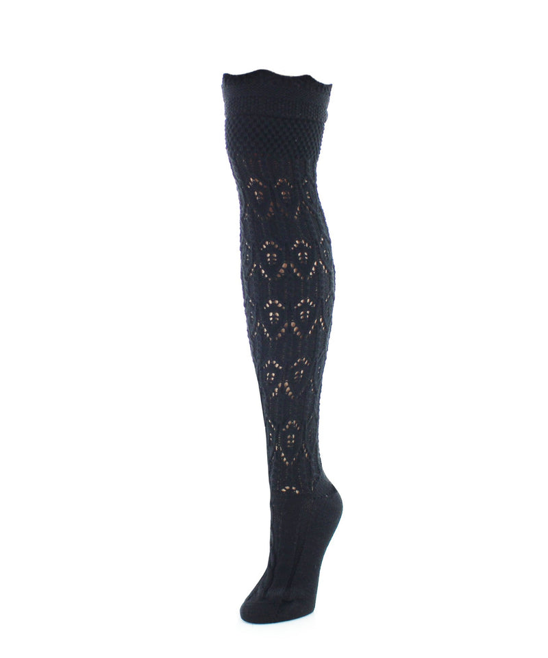 Diamond Pointelle Chunky Knit Over-The-Knee Socks - MeMoi - 4